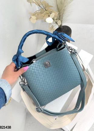 🔥 шикарная голубая сумка мешочек кожаная плетеная