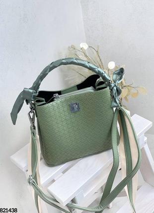 🔥 стильная плетеная кожаная сумка мешочек