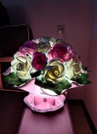 """Светильник ночник """"Бакет роз"""""""