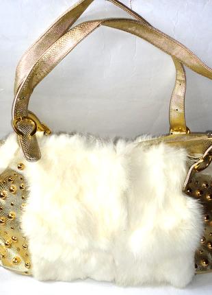 Шик! большая золотая сумка + мех кролика 35х25