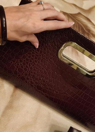 + подарок. большой клатч сумка коричневая под кожу питона змеи...