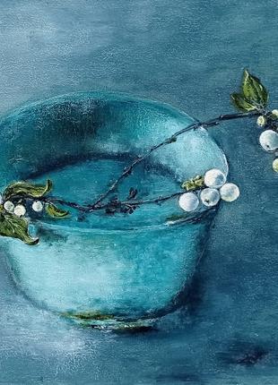 Картина маслом натюрморт Снежноягодник