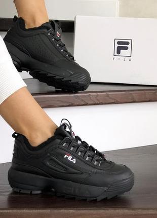 Шикарные женские зимние кроссовки/ ботинки fila disruptor 2 bl...