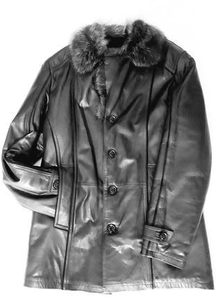 Куртка-пальто,кожа,мех.