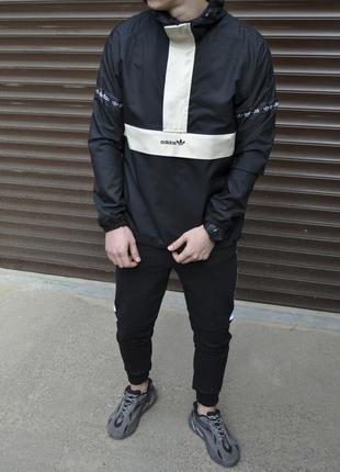 Стильная мужская ветровка анорак adidas с капюшоном куртка