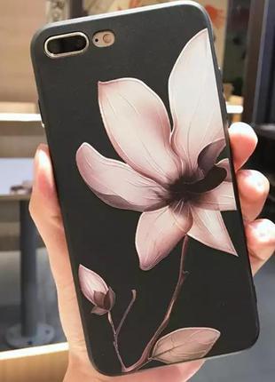 Новый чёрный чехол с цветком на айфон iphone 7 плюс / 8 плюс