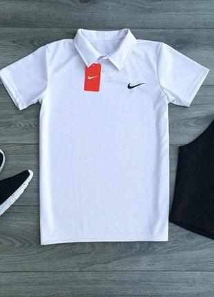 Легкий летний спортивный костюм комплект поло футболка шорты найк