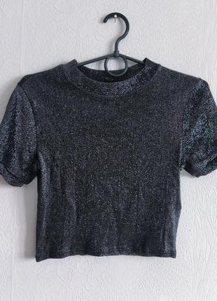 Стильный блестящий топ футболка
