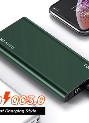 POWER BANK TOPK 10000mAh с быстрой зарядкой QC3.0 Оригинал