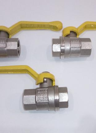 Кран шаровый 1/2 ВВ PN30 желтая ручка - рычаг