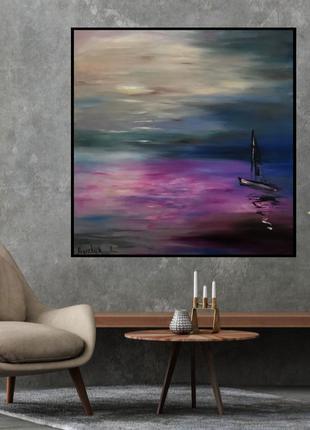 """Картина  маслом """"Тихий вечер на море"""""""
