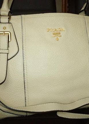 Стильная  большая сумка натуральная кожа  prada milano