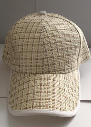 Подростку детям кепка плетеная бежевая соломенная