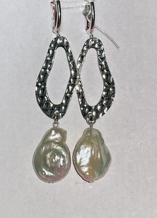 Серебряные длинные серьги с жемчугом,барочный жемчуг