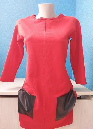Стильное женское платье со вставками из эко кожи