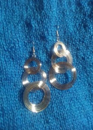 Длинные висячие серьги, кольца, цвет серебро