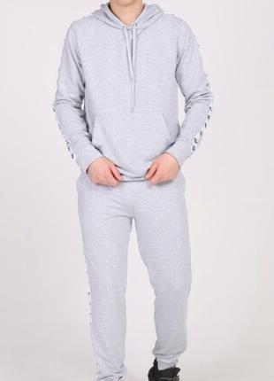Костюм спортивный серый с белыми лампасами Adidas Турция