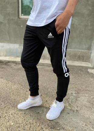Летние мужские черные спортивные штаны на манжете Adidas, зауженн