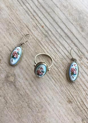 Набор серьги и кольцо серебро керамика роспись 18 р