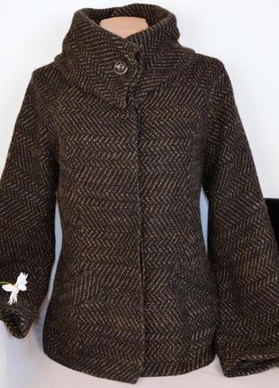 Брендовое коричневое демисезонное пальто с карманами river isl...