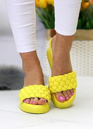 Желтые/лимонные  плетёные аккуратные шлепки/сабо/босоножки на ...