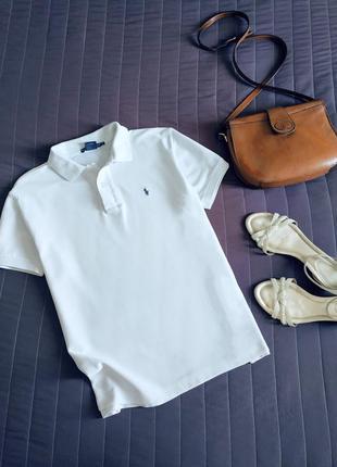Белая футболка поло, тенниска (100% хлопок)