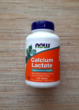 Now Foods, Лактат кальция, 250 таблеток, США, Америка, кальций