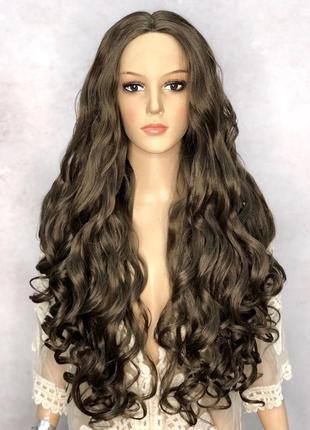 Парик длинный кудрявый русый на сетке lace wig