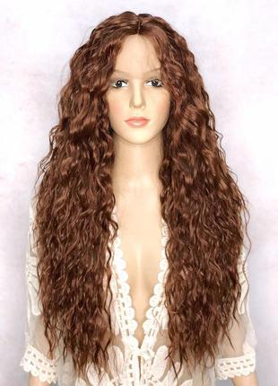 Парик длинный кудрявый темно-рыжий на сетке lace wig