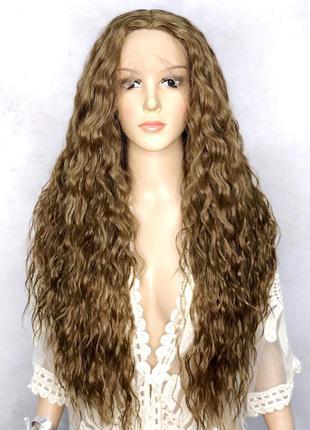 Парик длинный кудрявый светло-коричневый на сетке lace wig