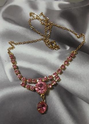"""Винтажное колье """"розовые кристаллы"""""""
