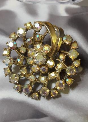 Винтажная брошь с кристаллами ав