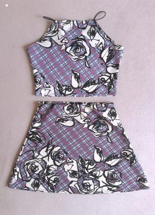 Цветочный костюм топ и мини юбка-трапеция