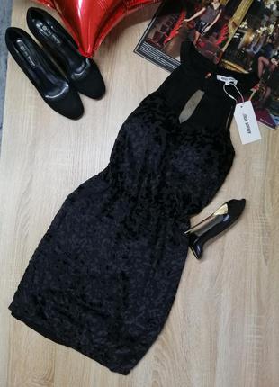 Новое короткое черное вечернее платье бархат с сеткой на груди...