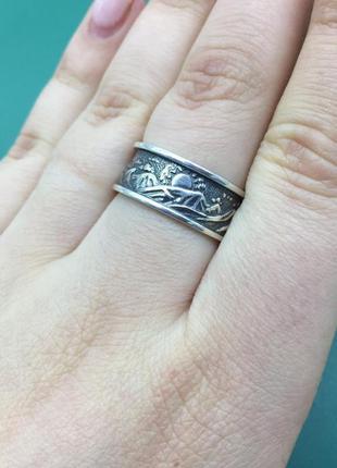 Кольцо серебряное, горы и солнце