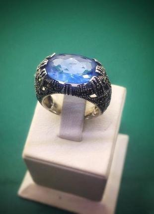 """Кольцо серебряное женское с голубым камнем """"душа океана"""""""