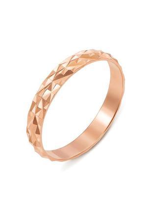 Обручальное кольцо с гранями, красное золото