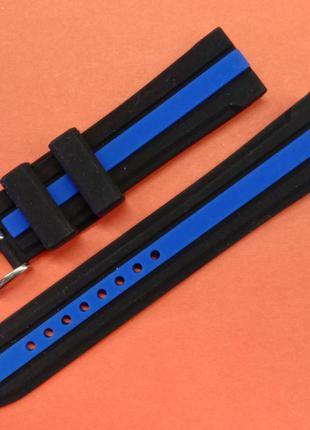 Ремешок для часов из каучука  черный с синей вставкой