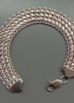 Серебряный браслет плетением тройная черепаха