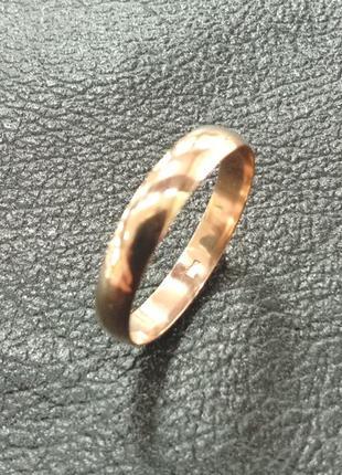 Золотое обручальное гладкое кольцо шириной4 мм