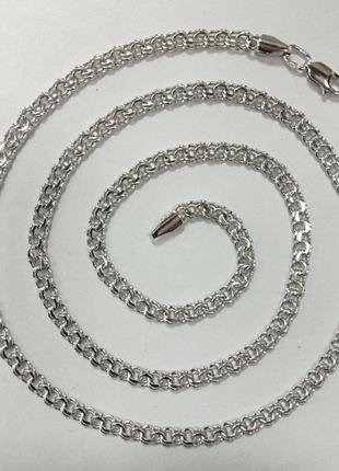 Серебряная цепочка плетение бисмарк покрытая родием