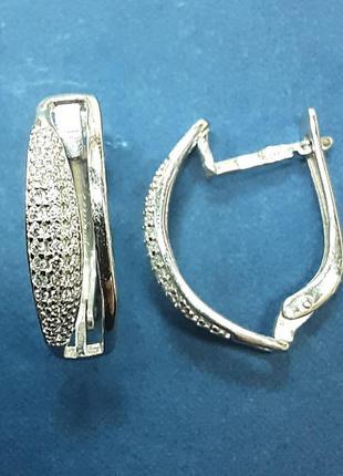 Серебряные женские серьги с россыпью фианитов