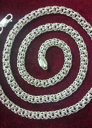 Мужская серебряная цепочка плетением круглый бисмарк