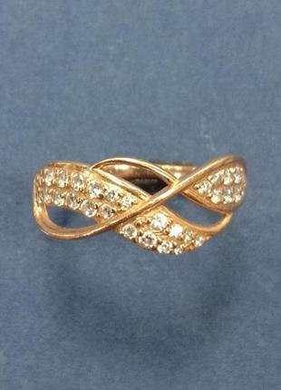 Золотое ажурное женское кольцо с вставками фианитов