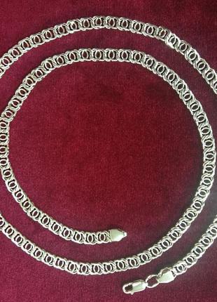 Мужская серебряная цепочка плетением арабский бисмарк