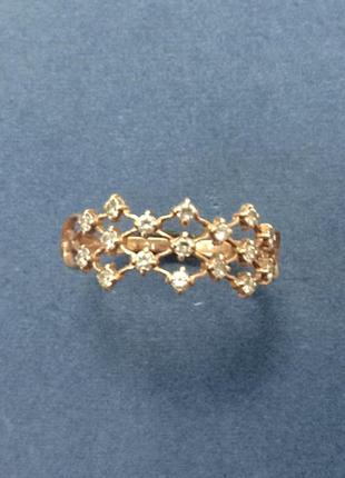 Золотое женское кольцо плетеная сетка с вставками из фианитов