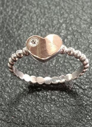 Кольцо с сердцем с золотой накладкой и вставкой фианита