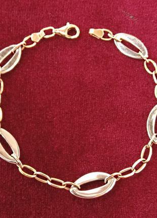 Золотой женский браслет комбинированный декор
