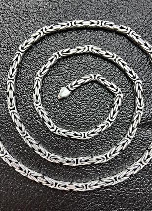 Серебряная мужская цепочка плетение лисий хвост с чернением...