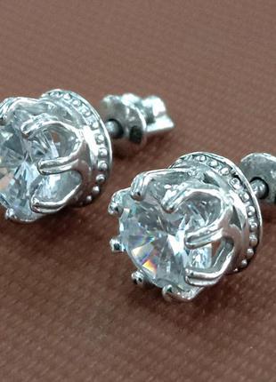 Женские серебряные серьги корона с вставкой фианита